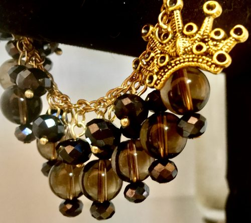 Smoky topaz and jet Czechoslovakian beads by Allison Mass  - featured on Jewelry Making Journal