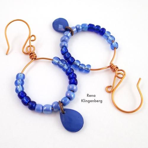 Colorful Hoop Earrings (Tutorial) by Rena Klingenberg