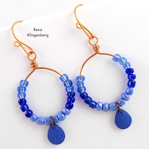 Colorful Hoop Earrings Tutorial by Rena Klingenberg