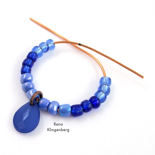 Colorful Hoop Earrings Tutorial by Rena Klingenberg - adding the beads
