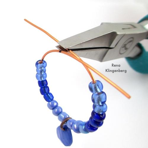 Colorful Hoop Earrings Tutorial by Rena Klingenberg - making the wire loop