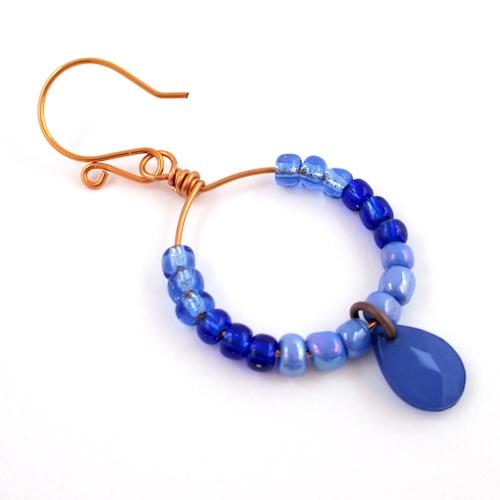 Colorful Hoop Earrings Tutorial by Rena Klingenberg - finished earring