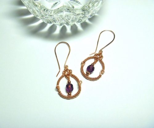 Copper Wire Wrapped Hoops by Donna Westbrook  - featured on Jewelry Making Journal
