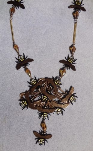 The Beekeeper Necklace... Yep, Paperclips, by Debra Lowe  - featured on Jewelry Making Journal
