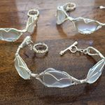 Wire Wrapped Sea Glass Bracelets and Pendants for a Wedding