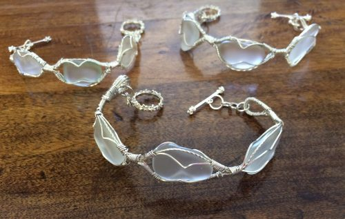 Sea Glass Bracelets for a Wedding by Patti Kubran  - featured on Jewelry Making Journal