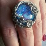 Wire Wrapped Marbled Glass Stone Ring