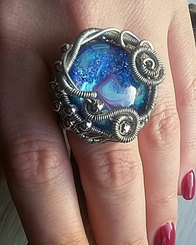 Wire Wrapped Marbled Glass Stone Ring, by Louise  - featured on Jewelry Making Journal