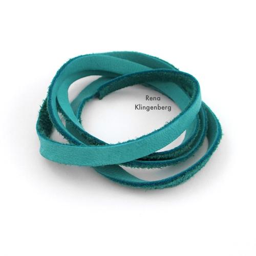 Adjustable Sliding Leather Bracelet Tutorial by Rena Klingenberg - teal deerskin lacing