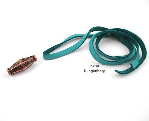 Adjustable Sliding Leather Bracelet Tutorial by Rena Klingenberg - folding the cord to make a loop