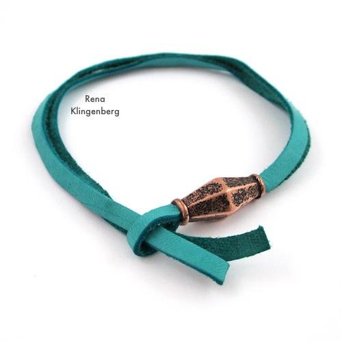 Adjustable Sliding Leather Bracelet Tutorial by Rena Klingenberg - threading cord ends through the loop