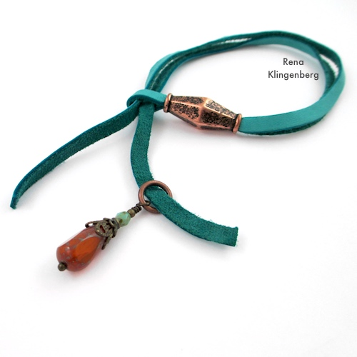 Adjustable Sliding Leather Bracelet Tutorial by Rena Klingenberg - attaching beads to the cord ends