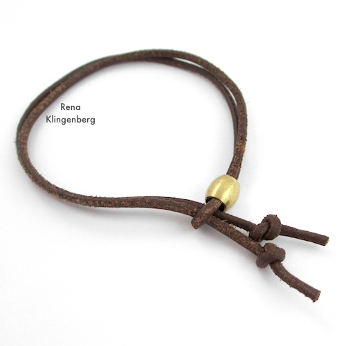 Adjustable Sliding Leather Bracelet Tutorial by Rena Klingenberg - knotting cord ends