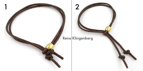 Adjustable Sliding Leather Bracelet Tutorial by Rena Klingenberg - sliding the cords to adjust the bracelet