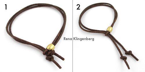 Adjustable Sliding Leather Bracelet Tutorial by Rena Klingenberg - sliding the cords to adjust the bracelet