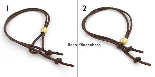 Adjustable Sliding Leather Bracelet Tutorial by Rena Klingenberg - tightening the leather loop