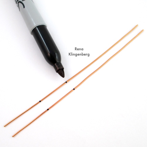 Changeable Spiral Earwires Tutorial by Rena Klingenberg - marking wire