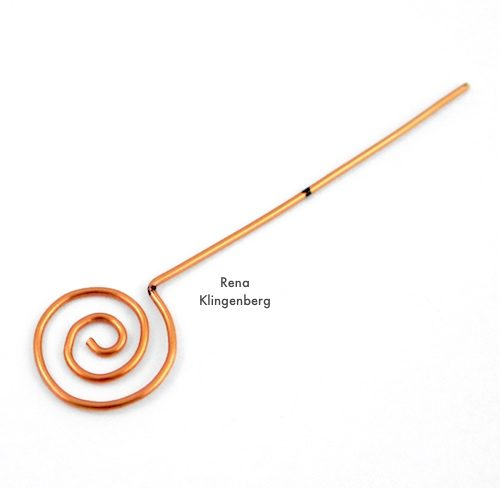 Changeable Spiral Earwires Tutorial by Rena Klingenberg - shaping the earwire hook