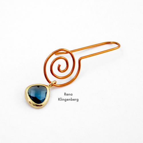 Changeable Spiral Earwires Tutorial by Rena Klingenberg - adding a dangle