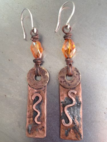 Hammered Copper Tube Earrings from Recycled Refrigerator Tube, by Carol Wofford  - featured on Jewelry Making Journal