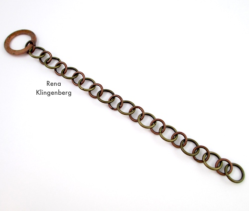 Rugged Mixed Metal Chain Bracelet Tutorial by Rena Klingenberg - making the chain