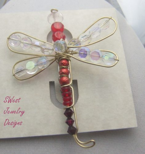 Red Dragonfly Pin, by Sandy West  - featured on Jewelry Making Journal