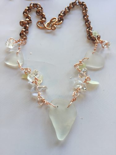 Sea Glass Statement Necklace with Crystals by Jean Forman  - featured on Jewelry Making Journal