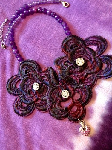 Purple Lace and Pink Sapphire Necklace, by Tamara Robertson  - featured on Jewelry Making Journal