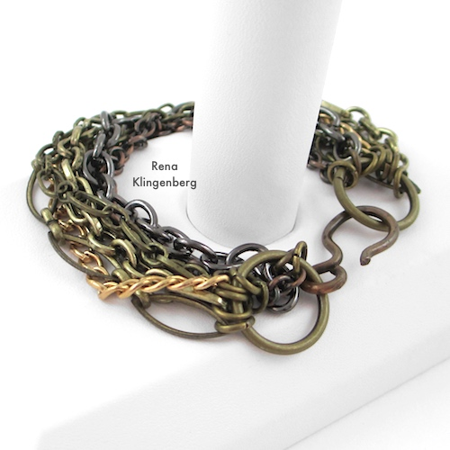 Chain Reaction Bracelet Tutorial by Rena Klingenberg  - featured on Jewelry Making Journal