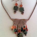 Jasper, Copper Filigree, and Agate  – Autumn Jewelry Set