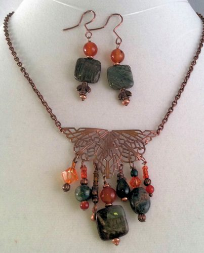 Jasper, Copper Filigree & Agate Autumn Jewelry Set by Carolyn Kopchik  - featured on Jewelry Making Journal