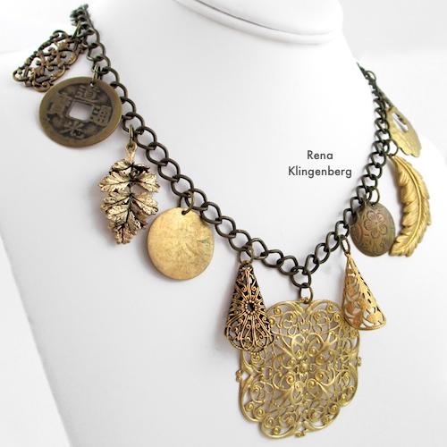 Gypsy Charm Necklace Tutorial by Rena Klingenberg. Boho gypsy necklace.  Statement necklace.