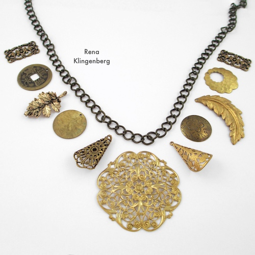 Gypsy Charm Necklace Tutorial by Rena Klingenberg - laying out the necklace design