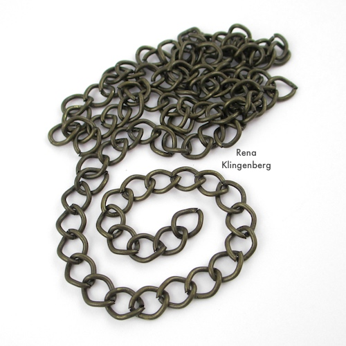 Gypsy Charm Necklace Tutorial by Rena Klingenberg. Cutting chain to desired length.