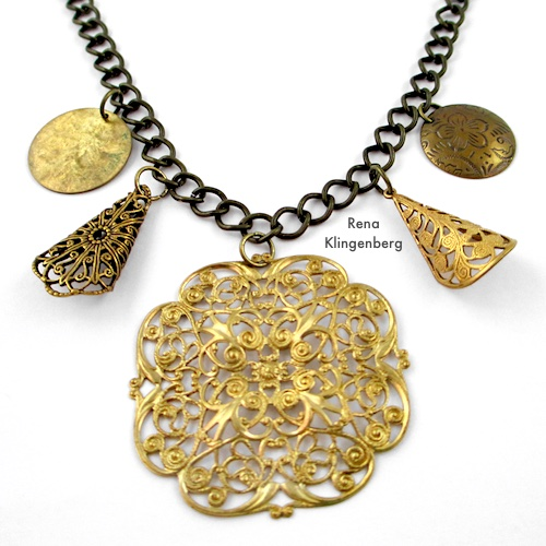 Gypsy Charm Necklace Tutorial by Rena Klingenberg - adding charms to the chain