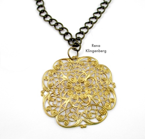 Gypsy Charm Necklace Tutorial by Rena Klingenberg - attaching the focal pendant to the chain