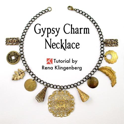 Gypsy Charm Necklace Tutorial by Rena Klingenberg. Boho gypsy necklace.