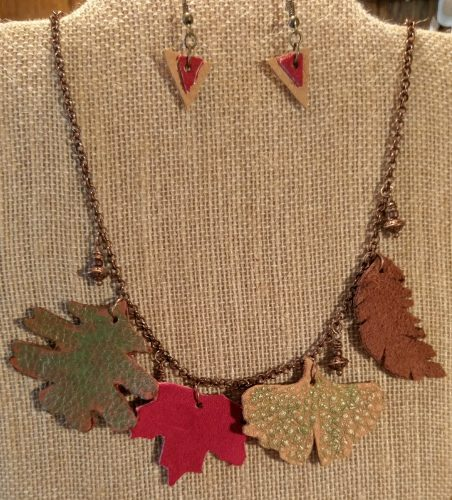 Autumn Daze Jewelry Collection, by Chris Rehkop - Leather 4 Leaf Necklace Copper Accents