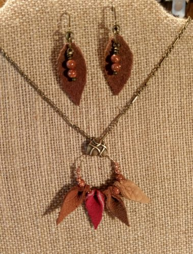 Autumn Daze Collection Leather Necklace - Leaves Goldstone Beads, by Chris Rehkop