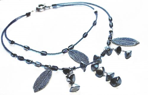 Grey Beaded Necklace by Hema Rao  - featured on Jewelry Making Journal