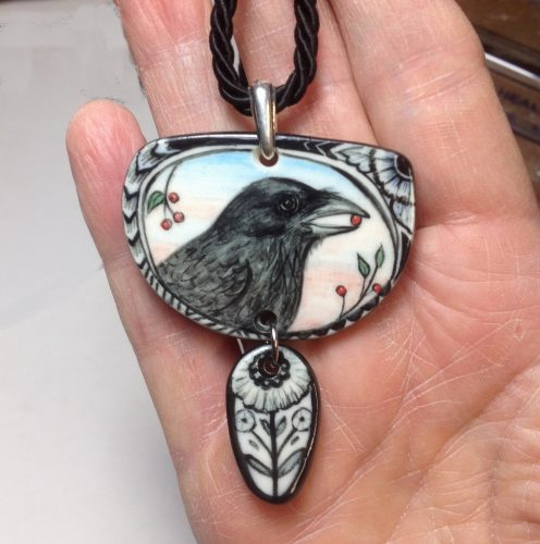 Hand Painted Porcelain Pendant by Jean Cotton  - featured on Jewelry Making Journal