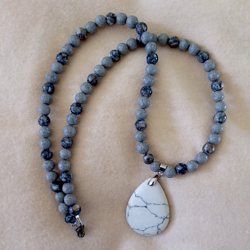 Howlite Focal w/Black Spot Feldspar Beads - Necklace by Sharon McKinney  - featured on Jewelry Making Journal