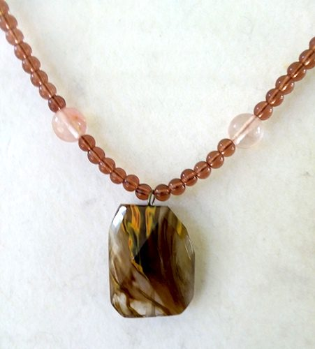 Zebra Jasper Focal with brown glass beads, necklace by Sharon McKinney  - featured on Jewelry Making Journal