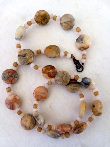 Jasper with Glass Cat's Eye beads Necklace by Sharon McKinney