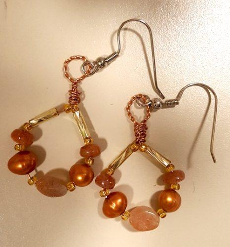 Solar Eclipse Earrings | Oregon Sunstone Earrings | Bead and Wire Earrings | by Cathy Stewart