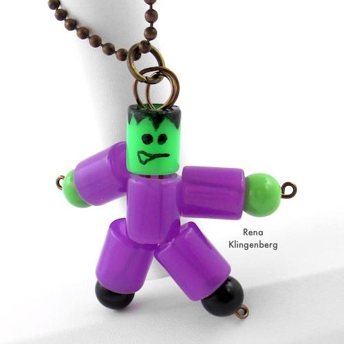 Frankenstein Necklace - Halloween Jewelry Tutorial by Rena Klingenberg