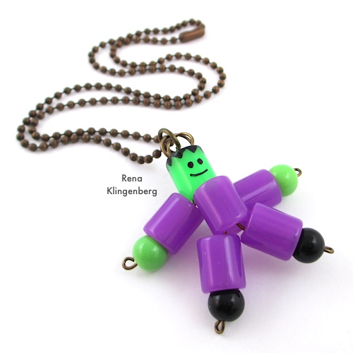 Frankenstein Necklace - Halloween Jewelry Tutorial by Rena Klingenberg - attaching Frankenstein pendant to the necklace chain