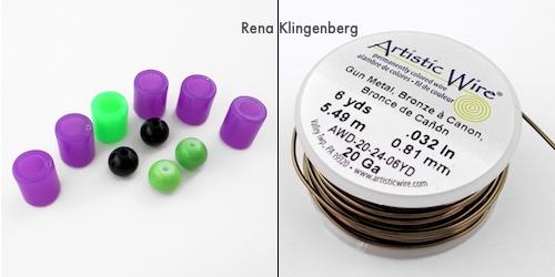Colar Frankenstein - Tutorial de joias de Halloween por Rena Klingenberg - as contas e o fio que usei