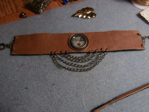 Leather Cuff Bracelet with Chains | Leather and Chain Bracelet | Photo Jewelry Leather Bracelet