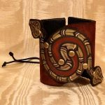 Leather Cuff Bracelet with Snake